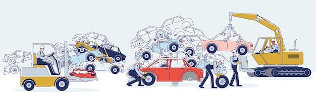 Koncepcja użytkowania pojazdów. postacie pracują na złomowisku, sortując stare używane samochody i stosy uszkodzonych samochodów. postacie demontaż samochodów. kreskówka liniowy zarys płaskie wektor ilustracja