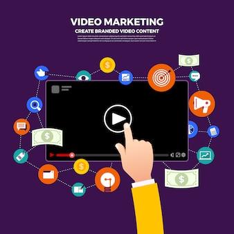 Koncepcja vlog płaska konstrukcja. twórz treści wideo i zarabiaj pieniądze. zilustrować
