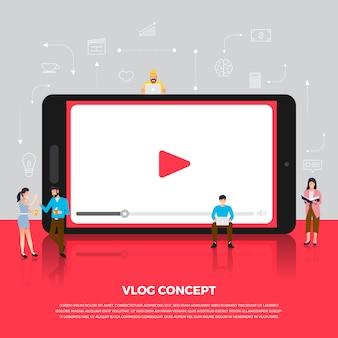 Koncepcja vlog. zespół opracowuje kanał wideo online. zilustrować.
