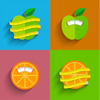Koncepcja wagi, ilustracja. zdrowy styl życia i symbole utraty wagi. mieszkanie