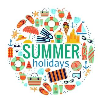 Koncepcja wakacji letnich na plaży. ilustracja podróży i rekreacji