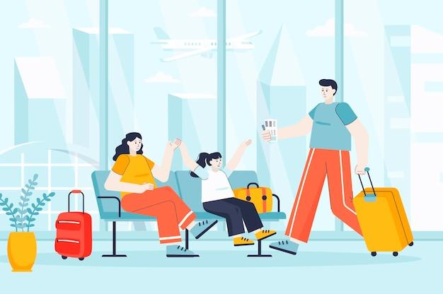 Koncepcja wakacji podróży w płaskiej konstrukcji ilustracji postaci osób na stronę docelową