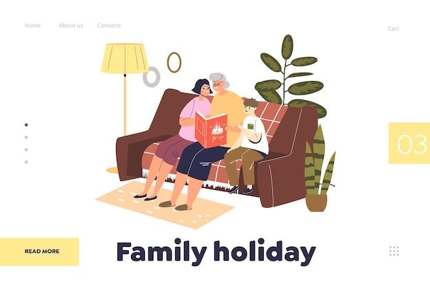 Koncepcja wakacji rodzinnych strony docelowej