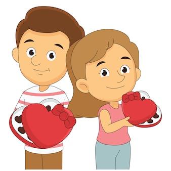 Koncepcja walentynki - szczęśliwy młody mężczyzna i kobieta z pudełkami