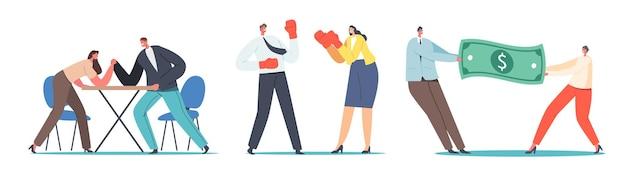 Koncepcja walki mężczyzny i kobiety. postacie męskie i żeńskie walka na rękę, walka w rękawicach bokserskich, ciągnięcie ogromnego banknotu dolarowego. konkurencja płci, przywództwo. ilustracja wektorowa kreskówka ludzie