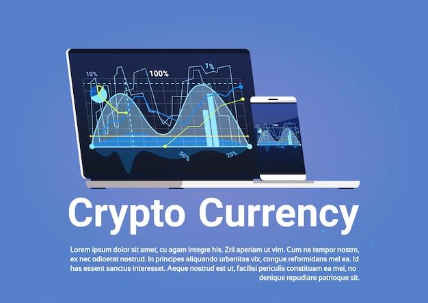 Koncepcja waluty crypto bitcoin cyfrowe wykresy pieniędzy na baner sieci web komputera przenośnego