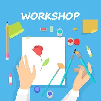 Koncepcja warsztatu. idea edukacji i kreatywności. doskonalenie umiejętności twórczych i zajęcia plastyczne. ilustracja w stylu kreskówki