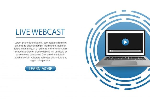 Koncepcja webcastu na żywo dla strony internetowej, baneru, prezentacji, mediów społecznościowych, dokumentów.