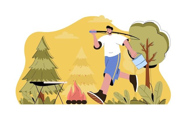 Koncepcja wędkarstwa i turystyki pieszej człowiek łowiący wędkę i odpoczywający na kempingu