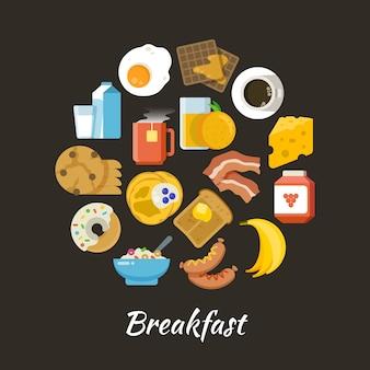 Koncepcja wektor śniadanie. świeża i zdrowa żywność