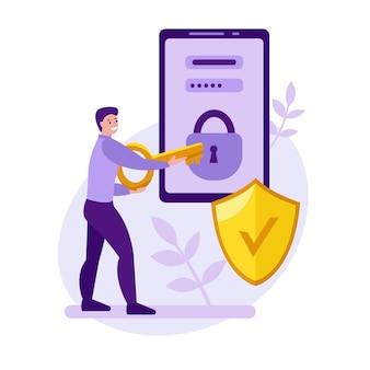 Koncepcja wektora bezpieczeństwa telefonu komórkowego młody mężczyzna próbuje odblokować telefon komórkowy za pomocą klucza