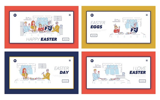 Koncepcja wesołych świąt. strona docelowa witryny. szczęśliwi ludzie dekorują pisanki i przygotowują się do wakacji. ustaw stronę docelową witryny z kreskówek konspektu liniowe płaskie s.