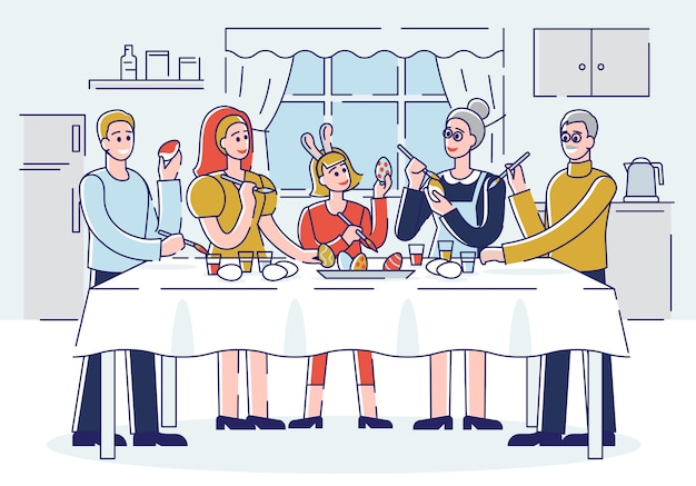 Koncepcja wesołych świąt. szczęśliwa rodzina dekorowanie pisanek w domu. ludzie spędzają razem czas i przygotowują się do wakacji. kreskówka kontur liniowy płaski.