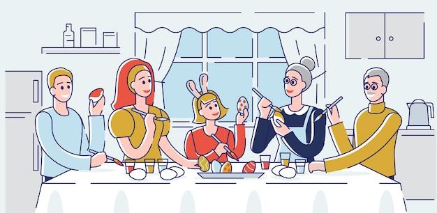 Koncepcja wesołych świąt. szczęśliwa rodzina dekorowanie pisanek w domu. ludzie spędzają razem czas w środowisku domowym i przygotowują się do wakacji. kreskówka kontur liniowy płaski.