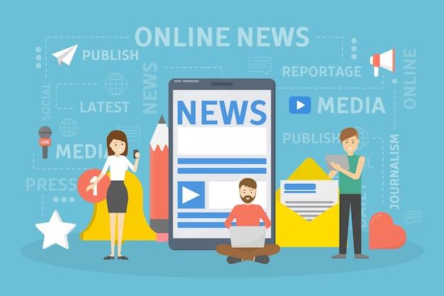 Koncepcja wiadomości online.