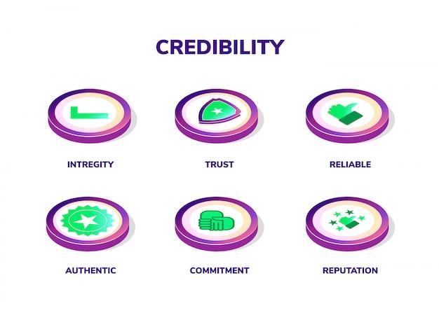 Koncepcja wiarygodności, reputacji i zaufania. sztandar z wektorowymi ilustracyjnymi izometrycznymi ikonami i słowami kluczowymi
