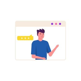 Koncepcja wideokonferencji i miejsca pracy spotkań online. zaprojektuj szablon z ludźmi biznesu biorącymi z kolegą raport, ulotkę, marketing, ulotkę, reklamę, broszurę, wektor w modnym stylu