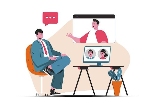 Koncepcja wideokonferencji na białym tle. komunikacja online za pomocą programu do rozmów wideo. scena ludzi w płaskiej konstrukcji kreskówki. ilustracja wektorowa do blogowania, strony internetowej, aplikacji mobilnej, materiałów promocyjnych.