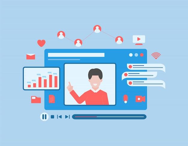 Koncepcja wideokonferencji online z udziałem ludzi zapewnia medialne treści edukacyjne w stylu linii