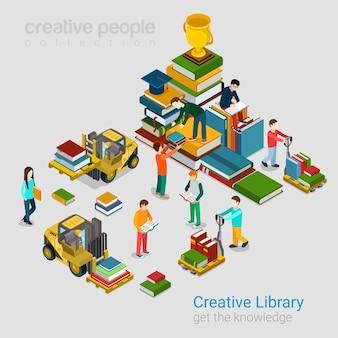 Koncepcja wiedzy płaski izometryczny kreatywnej biblioteki edukacji