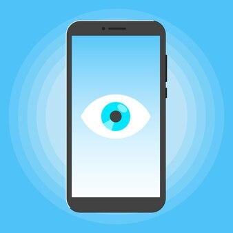 Koncepcja wielkiego brata inteligentny telefon szpieguje z dużym okiem na ekranie