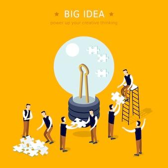 Koncepcja wielkiego pomysłu 3d izometryczny płaska konstrukcja