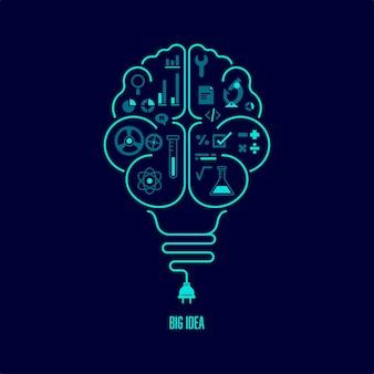 Koncepcja wielkiego pomysłu lub kreatywnego myślenia. kształt żarówki w połączeniu z ludzkim mózgiem