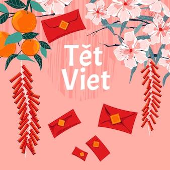 Koncepcja wietnamskiego nowego roku. tet viet oznacza księżycowy nowy rok w wietnamie
