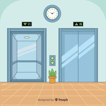 Koncepcja windy z otwartymi i zamkniętymi drzwiami w płaskiej konstrukcji