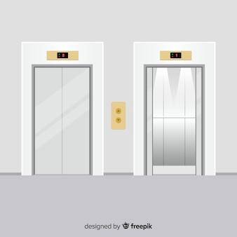 Koncepcja windy z otwartymi i zamkniętymi drzwiami