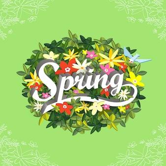 Koncepcja wiosenna płaska izometryczna infografika 3d z uroczymi kwiatami