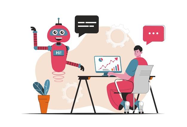 Koncepcja wirtualnego asystenta na białym tle. obsługa klienta przez roboty boty na czatach online. scena ludzi w płaskiej konstrukcji kreskówki. ilustracja wektorowa do blogowania, strony internetowej, aplikacji mobilnej, materiałów promocyjnych.