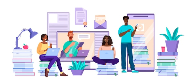 Koncepcja wirtualnej edukacji uniwersytetu lub kolegium online z różnymi młodymi studentami i nauczycielem, ekrany