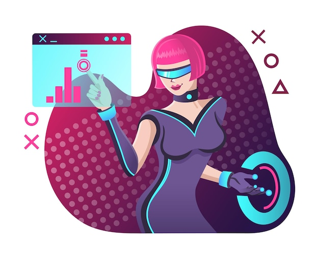 Koncepcja wirtualnej rzeczywistości futurystyczna kobieta pracująca z rozszerzoną rzeczywistością w okularach wirtualnej rzeczywistości