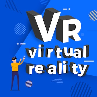 Koncepcja wirtualnej rzeczywistości vr. mężczyzna i okulary pokazują typografię. ilustracje.