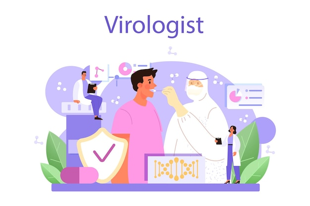 Koncepcja wirusologa. naukowiec bada wirusy i bakterie w laboratorium