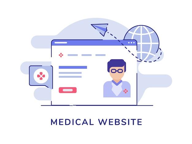 Koncepcja witryny medycznej z lekarzem w przeglądarce z płaski