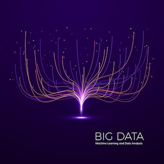 Koncepcja wizualna big data. streszczenie technologia tło. kompozycja fal muzycznych.