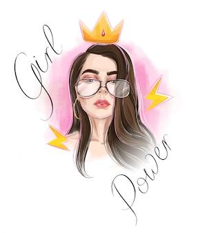 Koncepcja władzy piękna dziewczyna. złota korona. królewski znak.