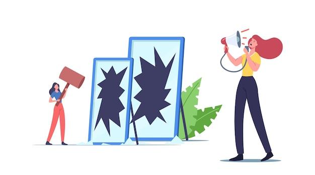 Koncepcja własnego gniewu. nieszczęśliwa rozgniewana postać kobieca krzycząca na siebie przez głośnik i pękające lustro niezadowolona z wyglądu. problem zdrowia umysłu kobiety. ilustracja kreskówka wektor