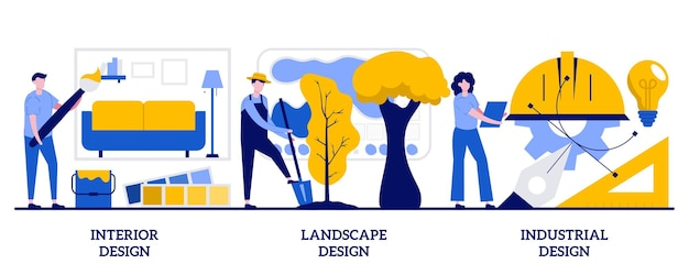 Koncepcja wnętrz, krajobrazu i wzornictwa przemysłowego z małymi ludźmi. pomysły inżynieryjne streszczenie wektor zestaw ilustracji. profesjonalne wyposażenie domu, metafora usług dekoratorskich na zewnątrz.