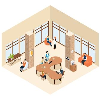 Koncepcja wnętrza izometrycznego centrum coworkingowego