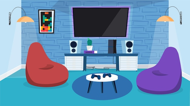 Koncepcja wnętrza pokoju gier wideo w płaskiej konstrukcji kreskówkowej. ogromny monitor na ścianie, głośniki muzyczne, torby na fotele, stół z joystickami, wystrój i oświetlenie. poziome tło ilustracji wektorowych