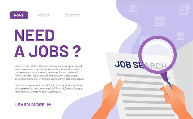 Koncepcja wolnych miejsc pracy dla strony docelowej. sam niedobór wolnych miejsc pracy spowodowany pandemią wirusa spowodował, że wiele osób straciło pracę