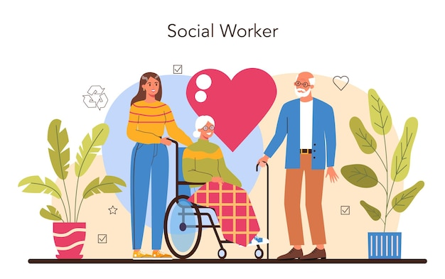 Koncepcja wolontariusza. pracownik socjalny wspiera osoby starsze i niepełnosprawne