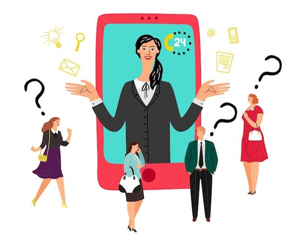 Koncepcja wsparcia online. klienci rozmawiają z operatorem, konsultant pomaga klientowi. wektor wsparcia 24x7
