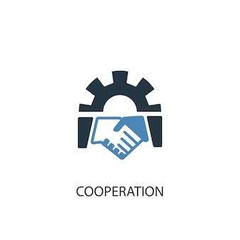 Koncepcja współpracy 2 kolorowa ikona. prosta ilustracja niebieski element. projekt symbol koncepcji współpracy. może być używany do internetowego i mobilnego interfejsu użytkownika/ux