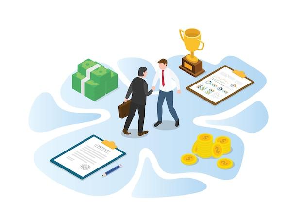 Koncepcja współpracy biznesowej z nowoczesną ilustracją w stylu izometrycznym lub 3d