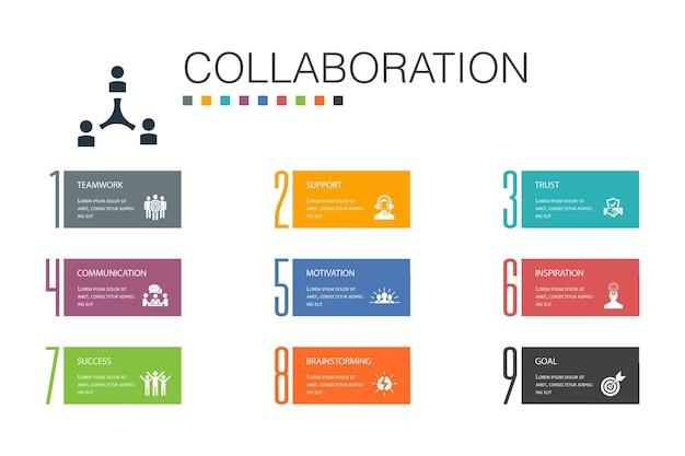 Koncepcja współpracy infografika 10 linii opcji. praca zespołowa, wsparcie, komunikacja, motywacja proste ikony