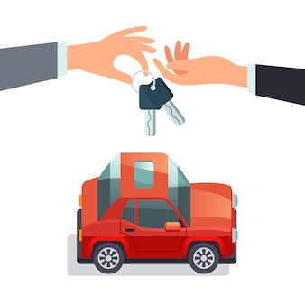 Koncepcja współużytkowania samochodu ręka, dając kluczyki do samochodu